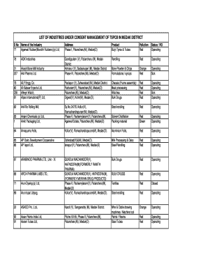 Fillable Online LIST OF INDUSTRIES UNDER CONSENT MANAGEMENT OF TSPCB