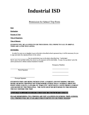 Industrial ISD Permission For School Trip Form Date Destination Purpose Of Time