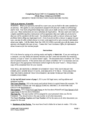 Bill of sale form idaho complaint for divorce with minor children completing form cao 1 2 complaint for divorce with minor solutioingenieria Images