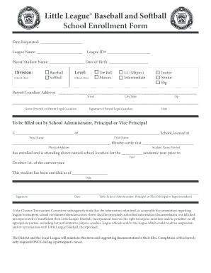 school enrollment form template