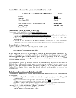 Sample Athletic Financial Aid Agreement Letter - Athletic Scholarships - athleticscholarships