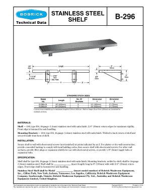 Shelf B-296 Technical Data - Bobrick Inc