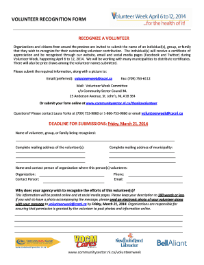Volunteer Recognition Form - Community Sector Council Fill