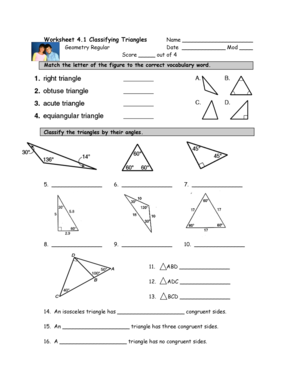 worksheet 4 1 classifying triangles geometry regular answer key