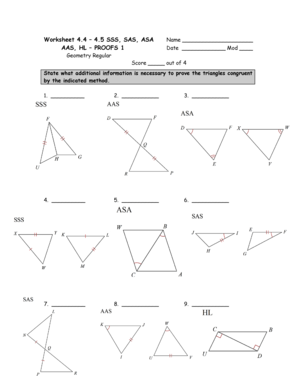 Fillable Online Worksheet 44 Name 45 Sss Sas Asa Date Proofs 1 Geometry Fax Email Print Pdffiller