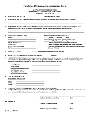 Printable Agreement Between Employee And Employer Fill Out