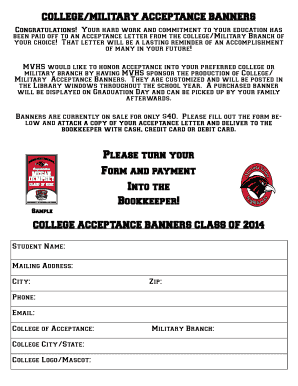 Fillable Online Senior College Acceptance Banner Fax Email