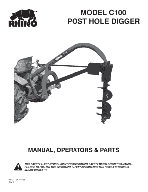 Fillable Online MODEL C100 POST HOLE DIGGER - Servis-Rhino