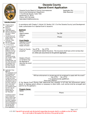 Fillable Online Permits Osceola Special Event Permit