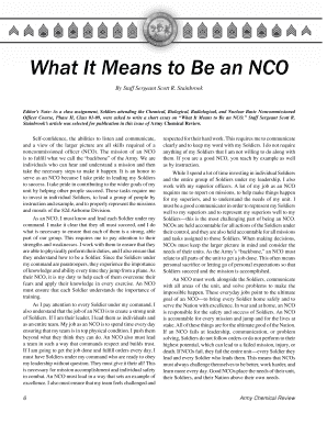 essay on what it means to be an nco