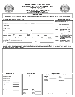 Fillable Online irvington k12 nj OPRA Request Form - Irvington ...