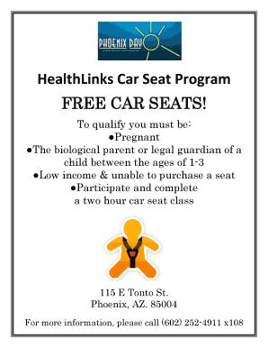 Fillable Online HealthLinks Car Seat Program Fax Email Print