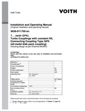 Installation And Operating Manual T With GPK Turbo Couplings With Constant  Fill Connecting Coupling Type GPK  Fax Sheet Example