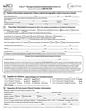 Fillable Online Vac Therapy Insurance Authorization Form V4