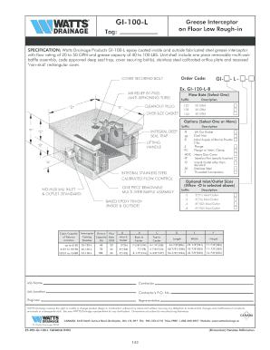 Fillable Online Gi100l Grease Interceptor On Floor Low