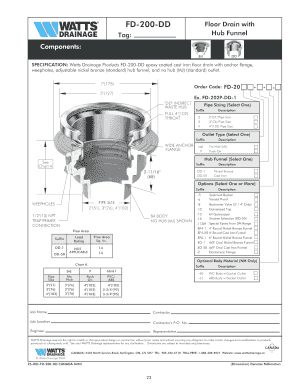 FD-200-DD Floor Drain with Components Fill Online, Printable