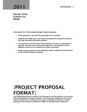 Fillable Online designclinicsmsme PROJECT PROPOSAL FORMAT