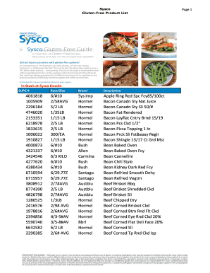 Complete Printable sysco products Samples Online in PDF