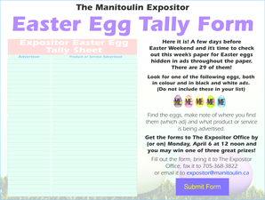 The Manitoulin Expositor Easter Egg Tally Form - manitoulin