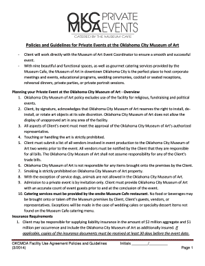 Policies And Guidelines For Private Events At The Oklahoma