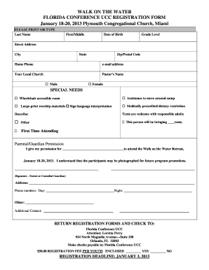 WALK ON THE WATER FLORIDA CONFERENCE UCC REGISTRATION FORM