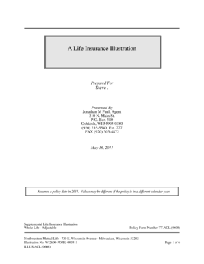 Fillable Online A Life Insurance Illustration Fatwallet Fax Email