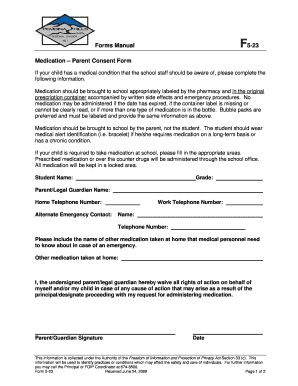Forms Manual F5-23 Medication Parent Consent Form