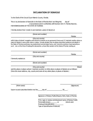 Fillable Online DECLARATION OF DOMICILE - Martin County Clerk of ...