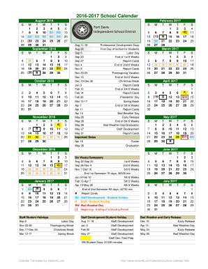 School District Calendar Template