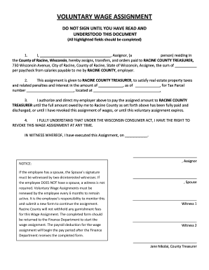 voluntary wage assignment agreement form