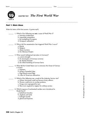 fillable online chapter chapter test the first world war fax email print pdffiller. Black Bedroom Furniture Sets. Home Design Ideas