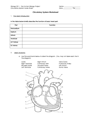 biology 2011 the human biology project circulatory system notes sheet fill online printable. Black Bedroom Furniture Sets. Home Design Ideas
