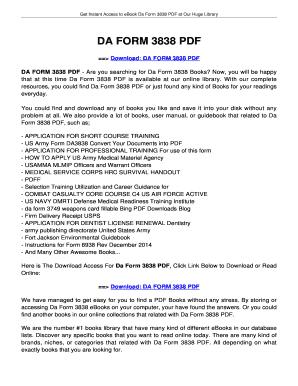 Fillable Online jansbooks DA FORM 3838. DA FORM 3838 Fax Email ...