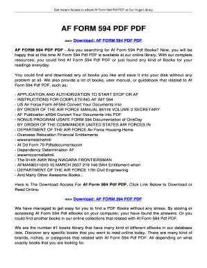 af form 594 Fillable Online jansbooks AF FORM 594 PDF PDF - jansbooksbiz Fax ...