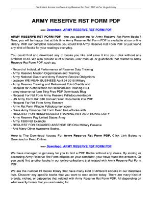 Fillable Online jansbooks ARMY RESERVE RST FORM PDF - jansbooksbiz ...