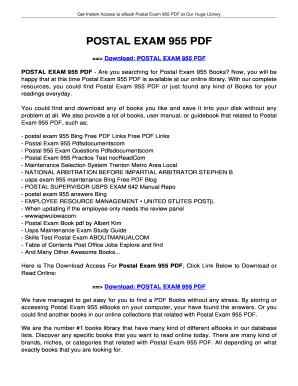 postal exam 955 pdf fill online printable fillable blank rh pdffiller com SHRM Exam Study Guide Nce Exam Study Guide