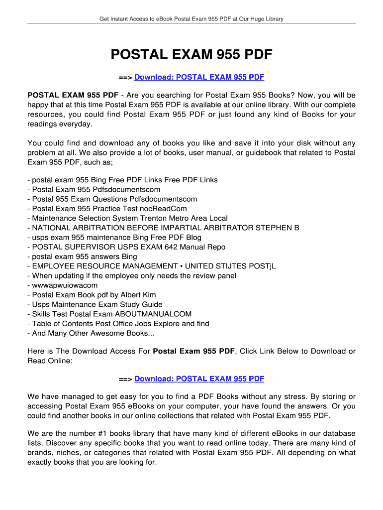 Postal Exam 955 Pdf - Fill Online, Printable, Fillable