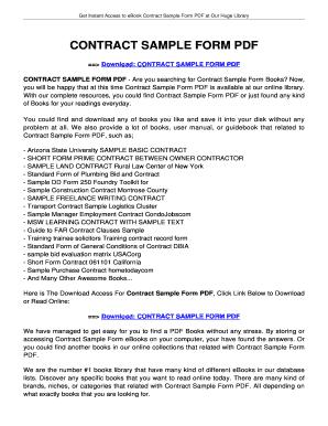 CONTRACT SAMPLE FORM PDF   Tolianbiz