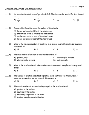 2212 - 1 - Page 1 ATOMIC STRUCTURE MIDTERM REVIEW