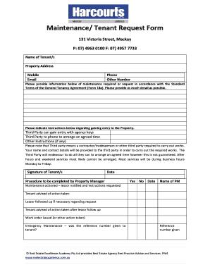 Fillable Online Maintenance Tenant Request Form - Harcourts Fax