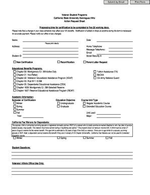 Veteran Student Programs Action Request Sheet Processing