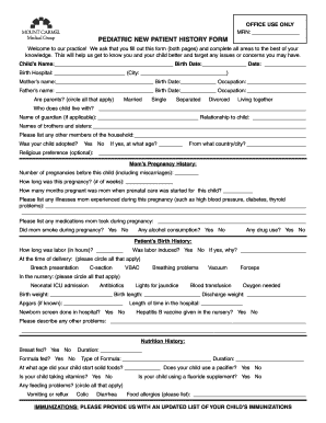 PEDIATRIC NEW PATIENT HISTORY FORM - Mount Carmel Health