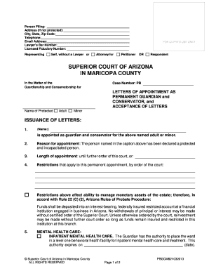 LETTERS OF APPOINTMENT AS PERMANENT GUARDIAN and CONSERVATOR and ACCEPTANCE OF LETTERS LETTERS OF APPOINTMENT AS PERMANENT GUARDIAN and CONSERVATOR and ACCEPTANCE OF LETTERS - superiorcourt maricopa