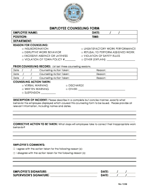 EMPLOYEE COUNSELING FORM - Town of Surfside