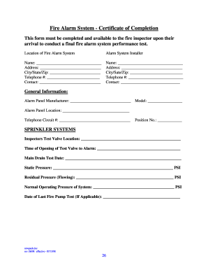 fire alarm installation certificate template - fire certificate completion fill online printable