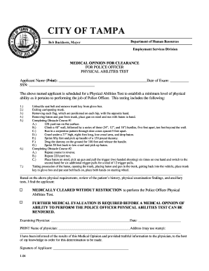 TPD Medical Clearance Form - City of Tampa
