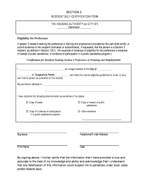 Fillable Online hammond Resident Self-certification Form (PDF ...