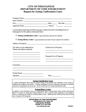 Confirmation letter format templates fillable printable samples zoning verification letter indianapolis form thecheapjerseys Images