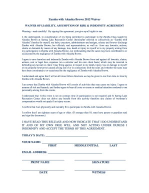 Zumba Waiver Form Fill Online Printable Fillable Blank
