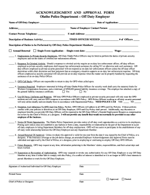 rhode island police department off duty employment form